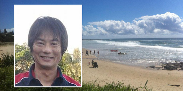 Tadashi Nakahara, inset, was killed by a suspected great white shark at Ballina.