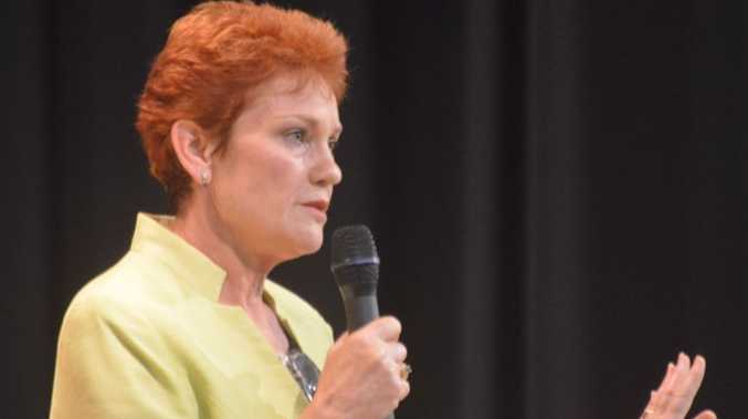 Pauline Hanson (seen here in the Gatton candidate forum) looks likely to just lose out on the seat of Lockyer.