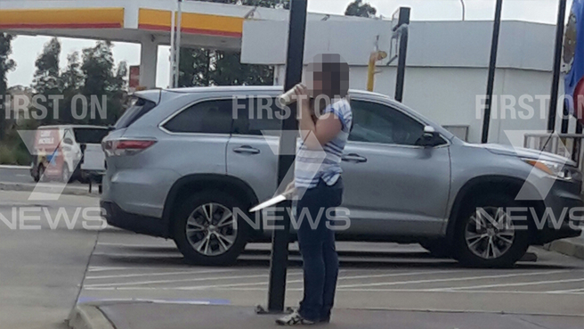 Just moments before a teenage girl with knife was shot dead by police at Hungry Jack's in Sydney's West Hoxton.