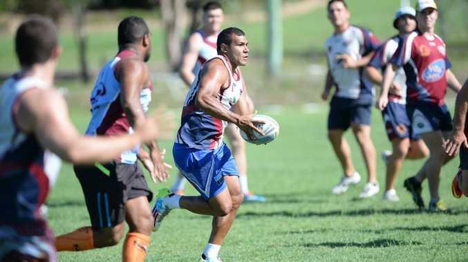 Central Queensland Capras recruit Javarn White takes the ball to the line during a preseason training session. Photo Allan Reinikka / Morning Bulletin