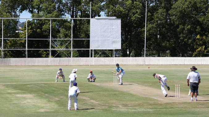 Southern Downs bowler Caleb King bowls the first delivery on the new Heritage Oval wicket block to Toowoomba batsman Nick Brown.