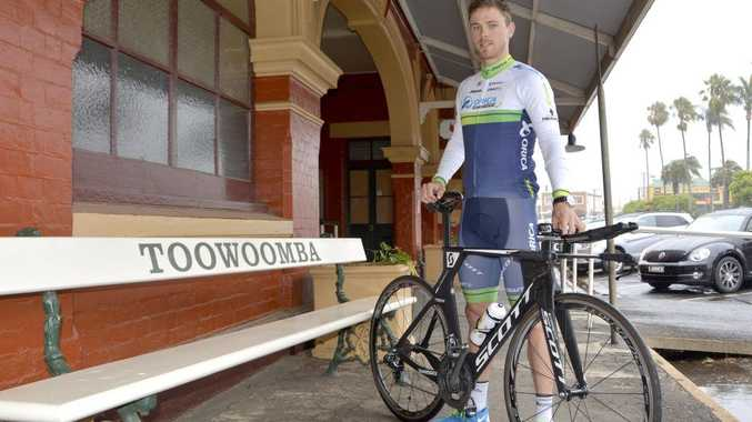 Leading Australian rider Michael Hepburn arrives in Toowoomba yesterday to compete in this week's Oceania Road Championships.