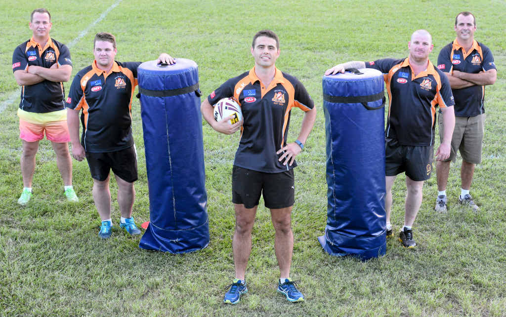 GEARING UP: Wallabys women's coach Andrew Butler, under-19s coach Dale Critchley, A-grade coach Dan Kerr, reserves coach Adam Alexander and president Andrew Lockwood are gearing up for 2015 hopeful of claiming a premiership or two between the teams.