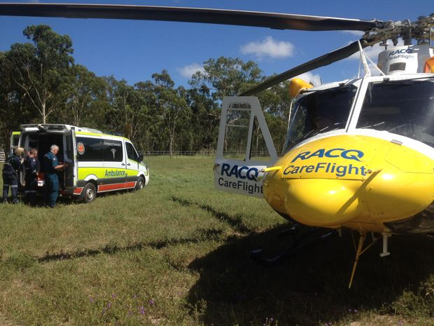 A Darling Downs woman in her forties has been airlifted to Brisbane