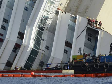 The Costa Concordia while it was lying on its side.