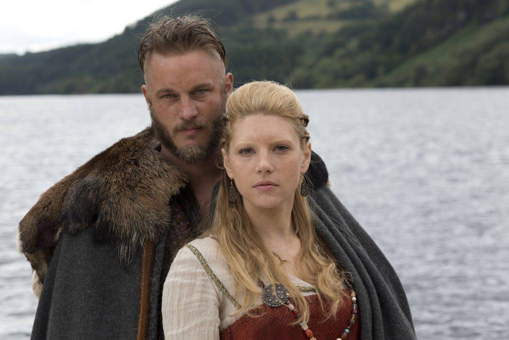 Travis Fimmel and Katheryn Winnick in Vikings.