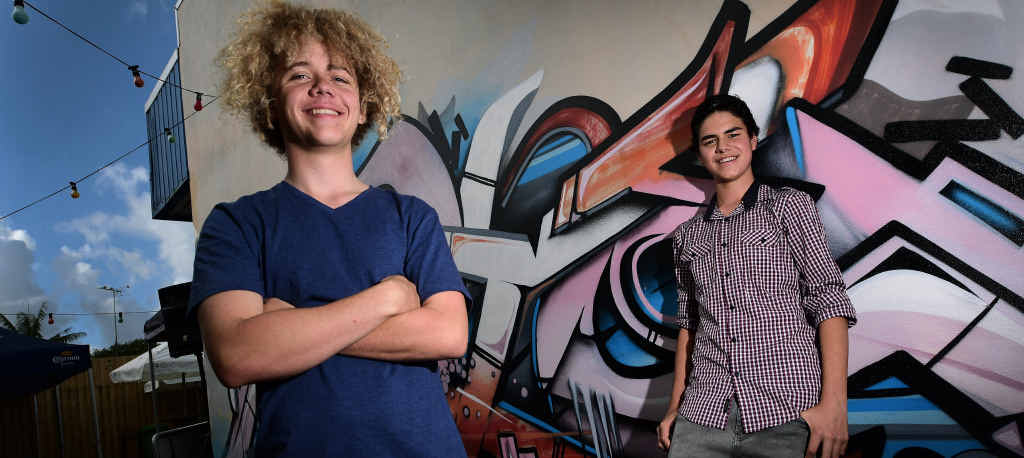 YOUNG ENTREPRENEURS: Mackenzie Reardon (left) and Hamish Caulfield, pictured on Ocean St, Maroochydore, are hoping to help foster business interest in other young people through Generation Innovation.