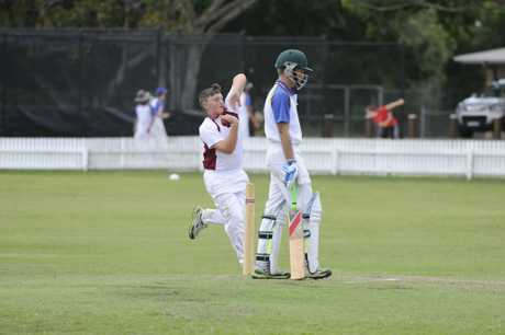 Clarence bowler Jackson Grieve during the under-14 North Coast Cricket Council inter district finals match between Clarence and Coffs at Ellem Oval in Grafton on Sunday, 15th February, 2015. Photo Debrah Novak / The Daily Examiner