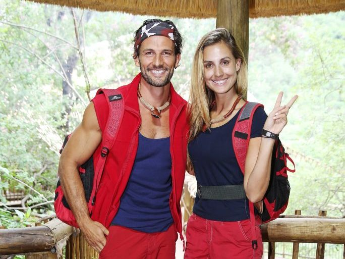 Tim Robards and Laura Dundovic after their elimination on I'm A Celebrity... Get Me Out of Here! Australia.