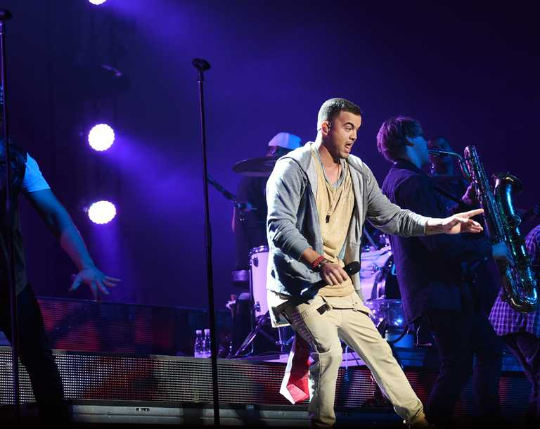 Guy Sebastian in concert at the Brisbane Entertainment Centre on Valentine's Day 2015.
