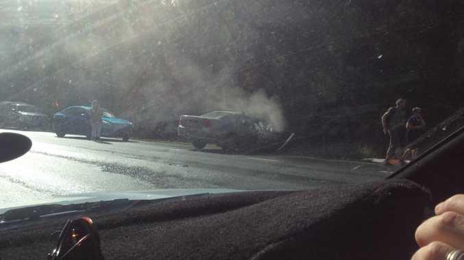 Three-vehicle crash Steve Irwin Way at Landsborough