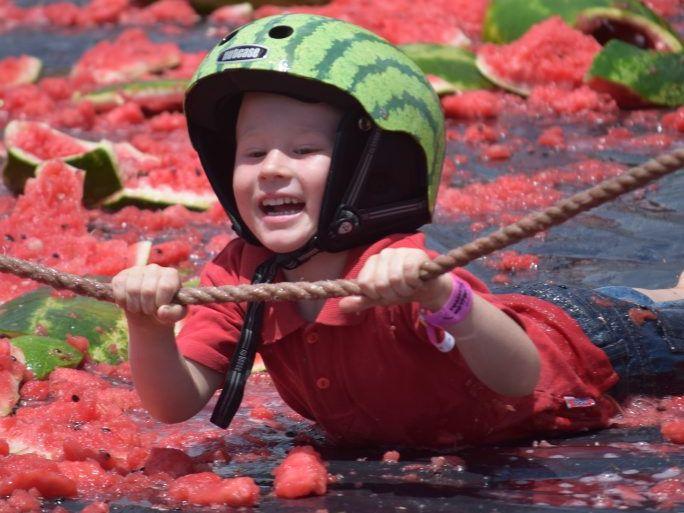 Ethan Murphy from Yuleba on the mini melon ski ramp.