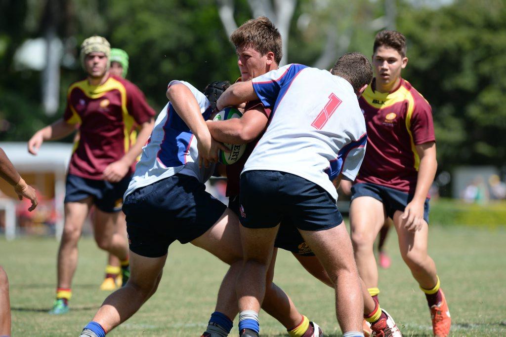 CQ's Josh Wells pushes over to score in the U17 match. Photo Allan Reinikka / The Morning Bulletin