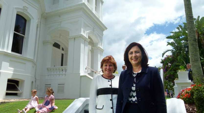 GOLDEN GIRLS: New Minister for Police, Fire and Emergency Services and Minister for Corrective Services Jo-Ann Miller with Queensland Premier Annastacia Palaszczuk at Government House.
