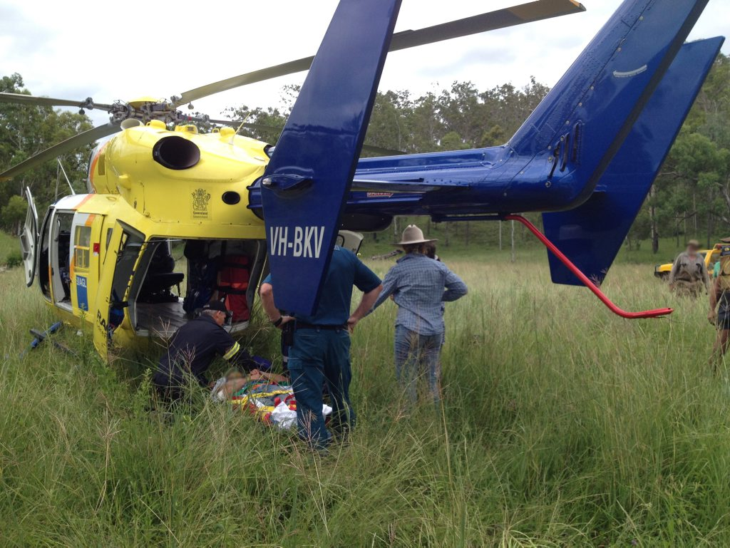 A man in his late-30s has been airlifted by the Bundaberg RACQ CareFlight Rescue helicopter following a mustering accident on a property near Kalpowar, north west of Gin Gin. Photo Contributed