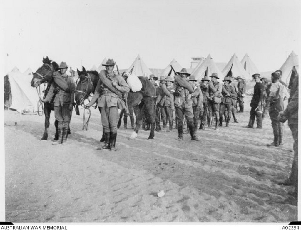 Members of the 1st Australian Division Signal Company, attached to the 3rd Infantry Brigade, prepare to leave Mena Camp in Egypt to embark for Lemnos Island.