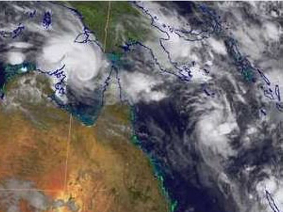 This Bureau of Meteorology satellite map show areas of cloud with embedded thunderstorms across the far north of the continent associated with the monsoon trough and with Tropical Cyclone Lam.