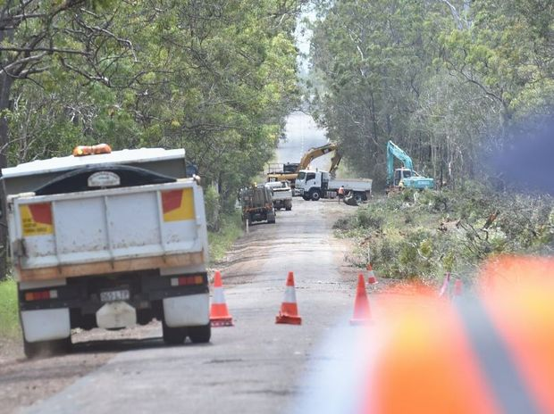 Work begins on finishing the last section of narrow roadway on Old Toogoom Rd at Torbanlea.