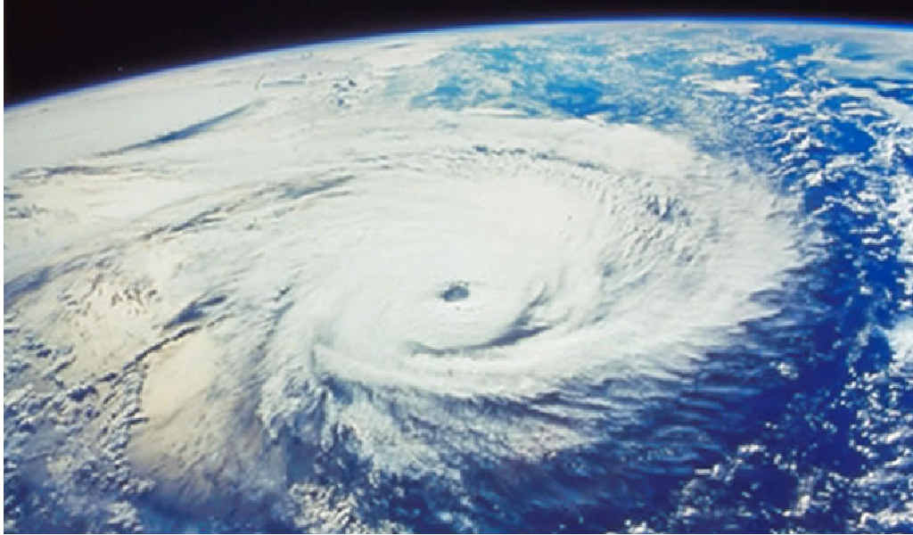 CYCLONIC FORCE: A view of a developing tropical cyclone from space.