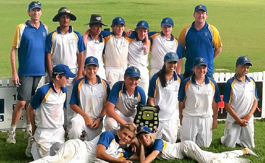 SUPERB: The party begins for the Coffs Harbour lads after beating Clarence River in the Interdistrict Under-14 decider. Photo: Contributed