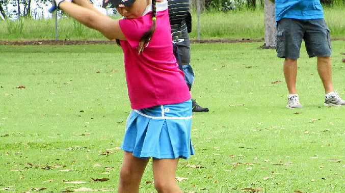YOUNG GUNS: Maddison McKee plays the 4th hole at Coraki. PHOTO: CONTRIBUTED