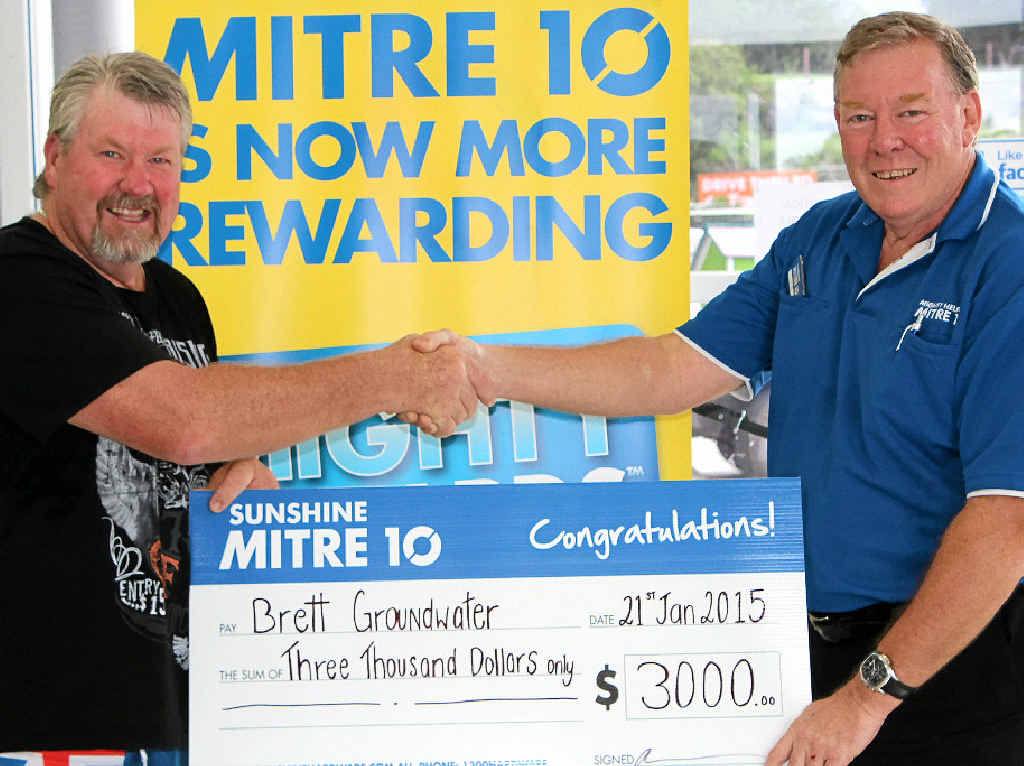WELL DONE MATE: Sunshine Mitre 10 store manager Mark Krause-Richardson congratulates Brett Groundwater on his recent competition win.
