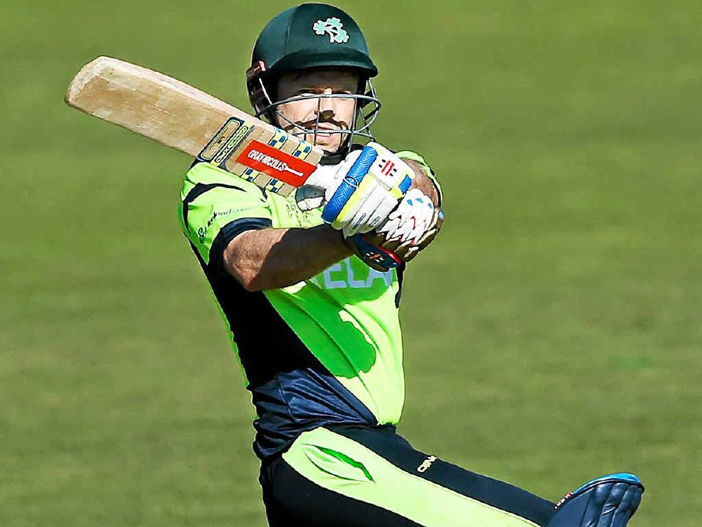SWEET TIMING: Irish batsman Ed Joyce hooks a ball on his way to scoring 84 off 67 balls against the West Indies in Nelson.