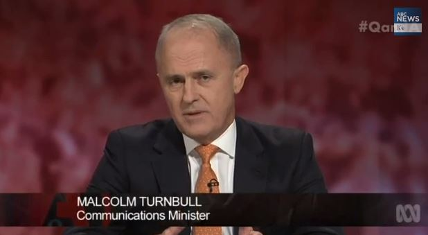 Malcolm Turnbull appears on ABC panel show Q&A; on February 16, 2015.