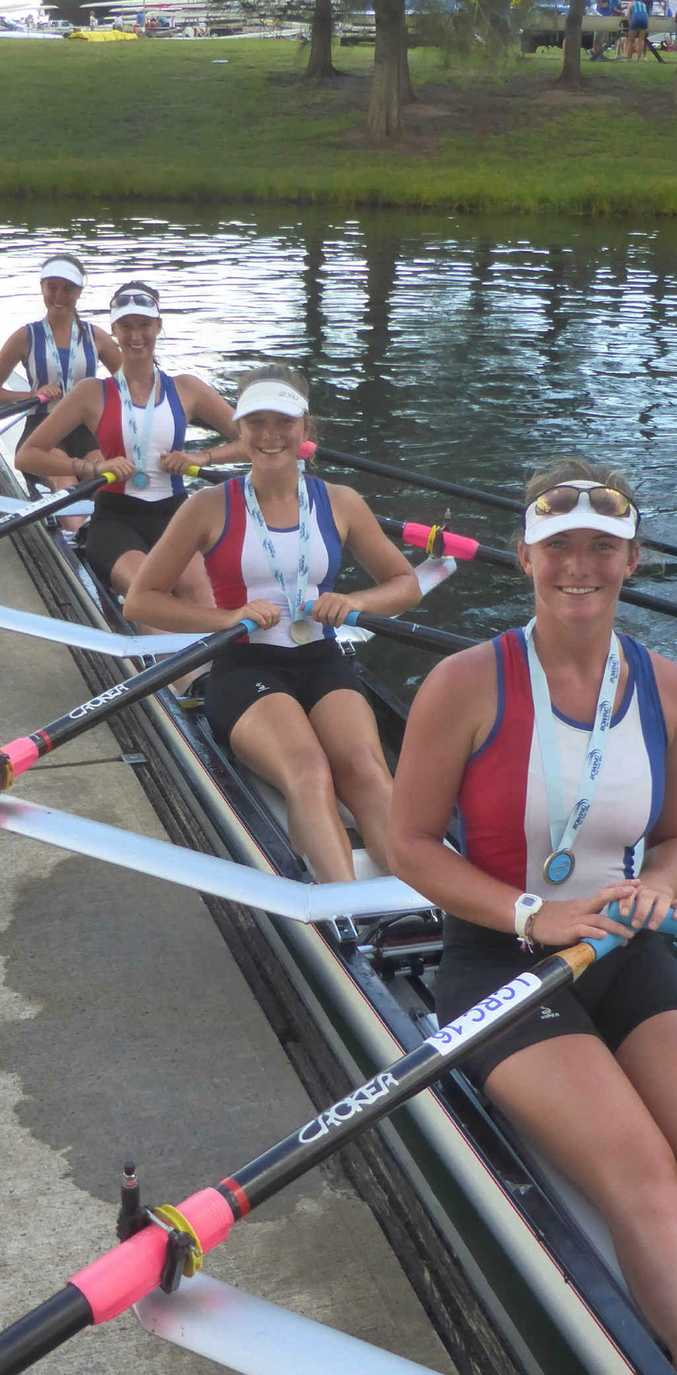 SILVER: Lower Clarence's under-19 women's quad scull crew of Nikita Kean (Lismore), Marnie Evans, Chianna Dane and Teagan McFarlane. PHOTOS: CONTRIBUTED