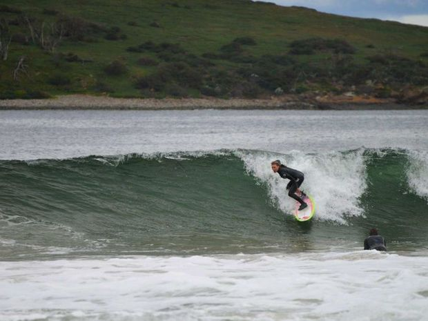 An image supplied to the ABC by Danny Mason of Brooke Mason surfing on Hobart's South Arm.