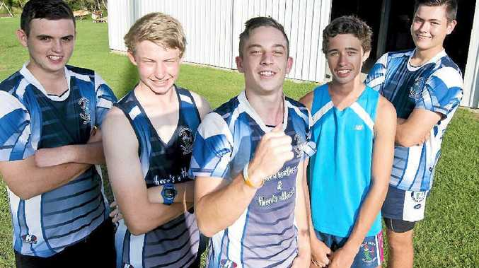 NEW HOPE: Brothers lads, Jesse Ingham, Patrick Graham, Ashyton Lindeberg, Jack Moore and Alex Adams, all 15, in front of the clubs new storage shed.