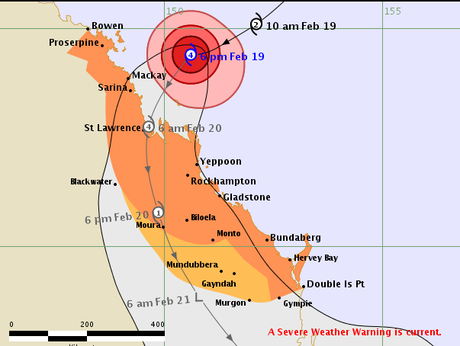 The Bureau of Meteorology's cyclone tracking map as at 6pm on Thursday.