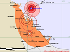 The Bureau of Meteorology's cyclone tracking map as at 9pm on Thursday.