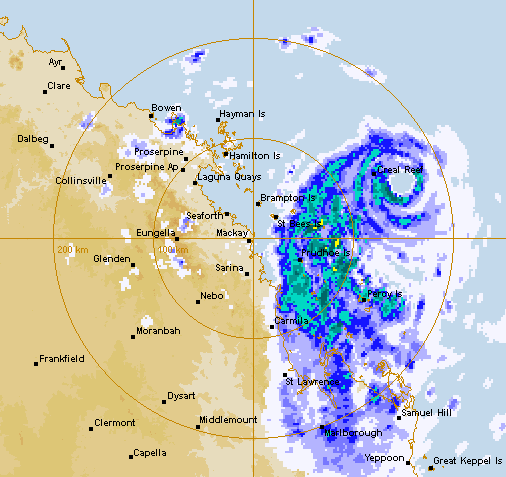 The Bureau of Meteorology's weather radar at 7.30pm on Thursday.