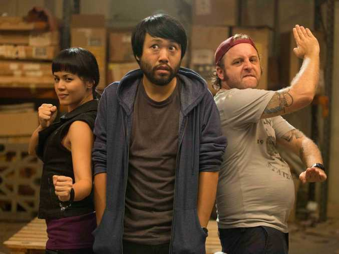 Stephanie Son, Lawrence Leung and Dave Eastgate in a scene from Maximum Choppage.