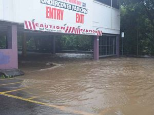Nambour car park under cover and under water