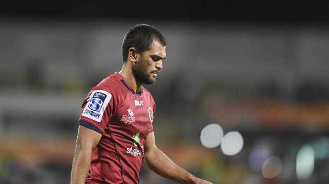 Karmichael Hunt of the Reds reacts during the Round 1 Super Rugby match between the ACT Brumbies and the QLD Reds at GIO Stadium in Canberra, Friday, Feb. 13, 2015.
