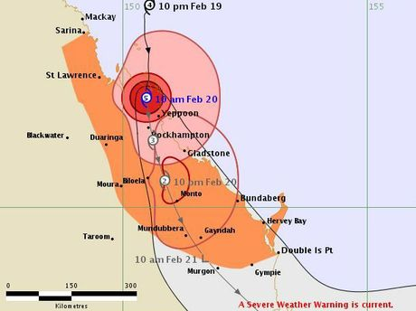 The Bureau of Meteorology's tracking map for Tropical Cyclone Marcia as of 10.04am on February 20, 2015