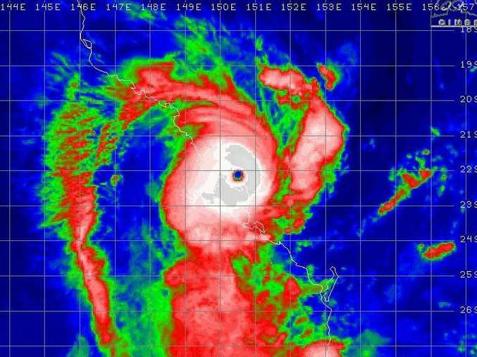 Cyclone Marcia in infra-red, taken at 8am.