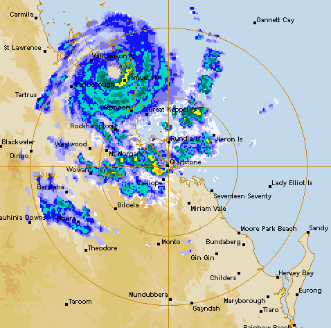 The Gladstone weather radar as at 9.30am on Friday. Source: BOM.