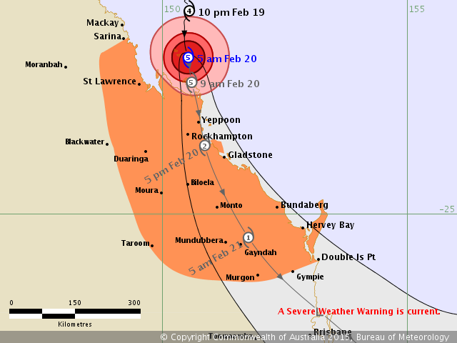 BOM tracking map for Tropical Cyclone Marcia, released 5am on Friday February 20