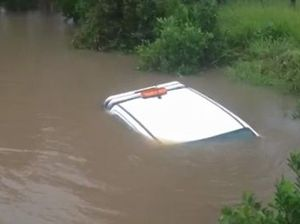 Car flooded on the Sunshine Coast