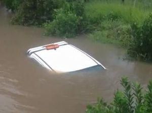 Car flooded on the Sunshine Coast