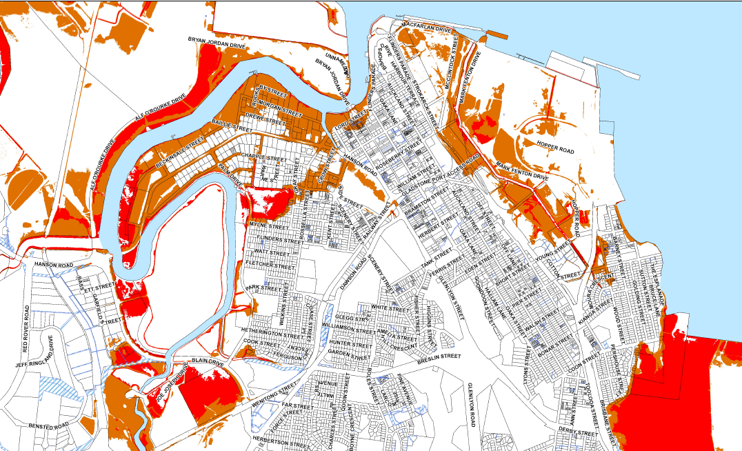 Gladstone Regional Council's storm tide mapping for Gladstone.