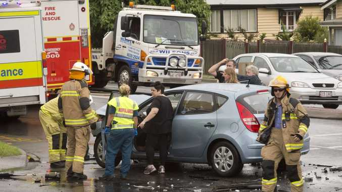 A car crash at the corner of Long and Ruthven St from earlier this year.