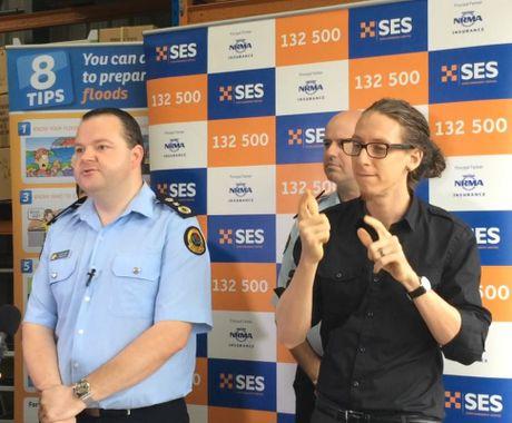NSW SES Commissioner, Adam Dent, addresses the media at Goonellabah this morning.