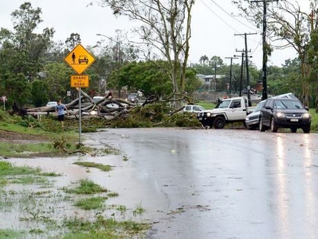 Vehicles were making their own detours around road blocks like this one on Norman Road, Rockhampton, following Cyclone Marcia. Photo Sharyn O'Neill / Morning Bulletin