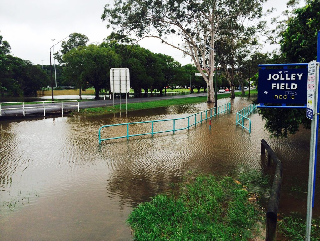 Floods in Jolley Field, Lismore during cylone Marcia. Photo : Phil Clynes