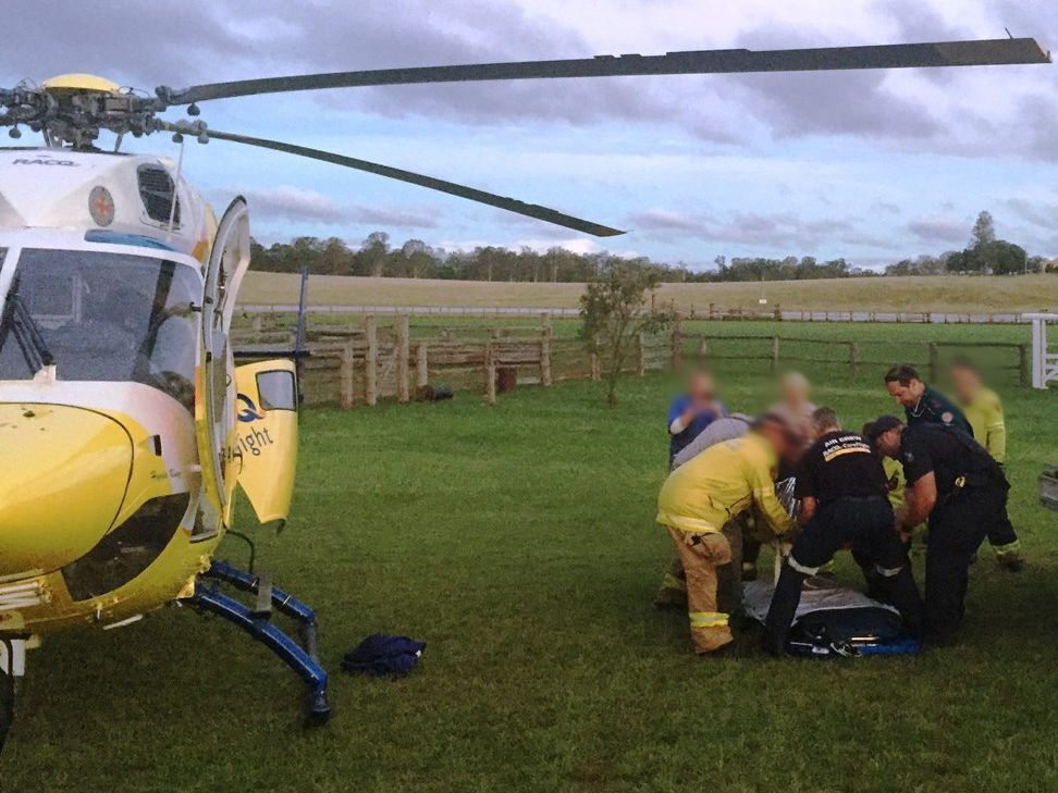 A woman in her 50's has been airlifted by the RACQ CareFlight Rescue helicopter after a quad bike collision at Teebar.
