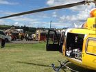 RACQ Careflight Toowoomba crew airlifted a patient after a 4WD collision south of Gatton. Photo RACQ CareFlight Rescue